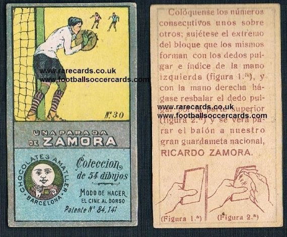 1920s Ricardo Zamora flick-card from Spain